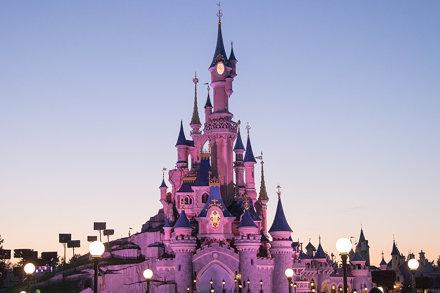 Sleeping Beauty's castle by night
