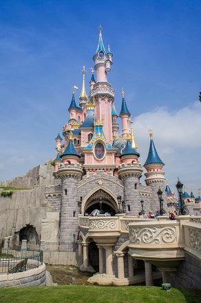Pink castle  at Disneyland Paris