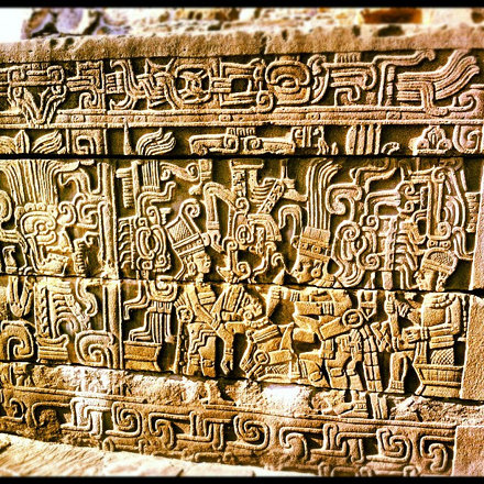 carvings in the temple depicting a sacrifice.