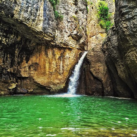 A waterfall in the Emen canyon near Veliko Turnovo, Bulgaria