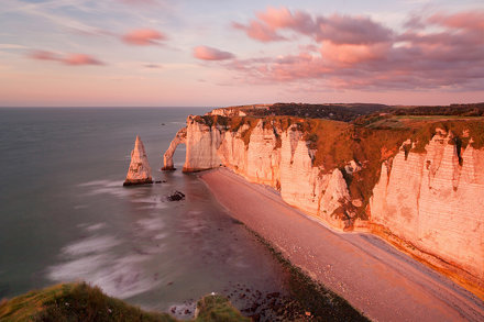 Etretat cliffs in the setting sun