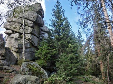 Luisenburg Felsenlabyrinth Blick vom Kaiser-Wilhelms-Felsen auf Wunsiedel