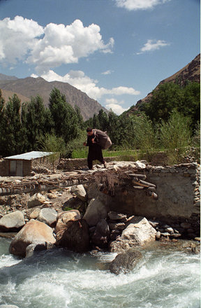 Local Man on a Bridge at Garam Chashma, Pakistan