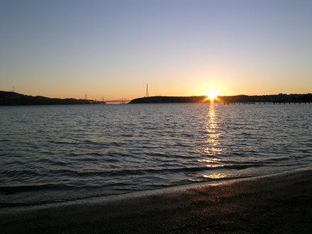 Beach last rays of the sun