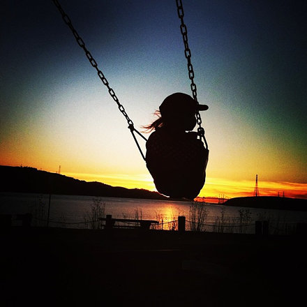 Sunset Swinging and Train Spotting
