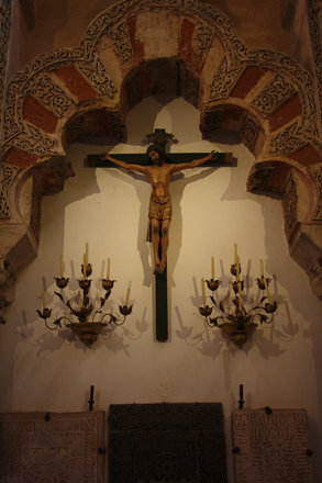 Christ on the cross inside the Mezquita
