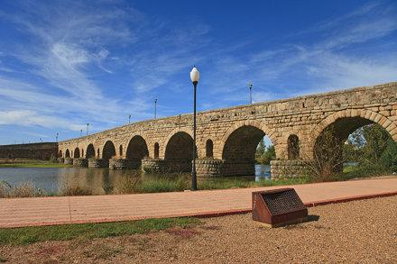Mérida. Roman brigde. Guadiana river. Badajoz. Extremadura. Spain
