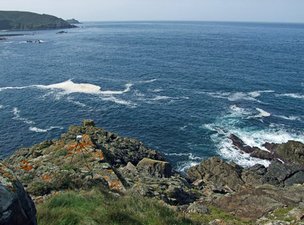 Recording sea from high crag on Mussel Point, Zennor