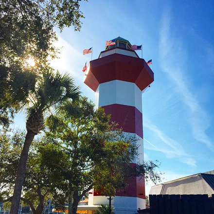 We climbed to the top of Harbour Town lighthouse in Hilton head. #hiltonhead #lighthouse