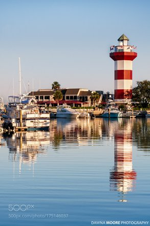 Harbour Town Lighthouse in Reflection, Hilton Head Island, South