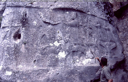 Yazilikaya.  A procession of Hittite gods in relief.