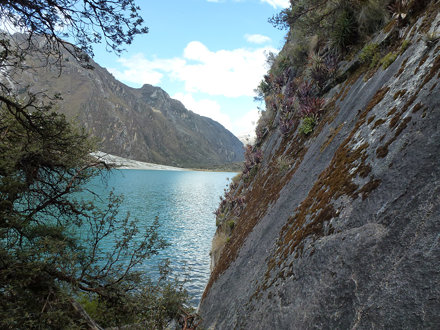 Llanganuco Lake and rocks of Huascarán