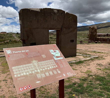 The Gateway of the Sun (Puerta del Sol), the Kalasasaya Temple, Tiwanaku, Bolivia.