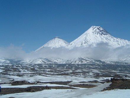 Klyuchevskaya volcano and Mt. Kamen