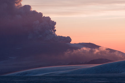 The volcano cloud in the twilight