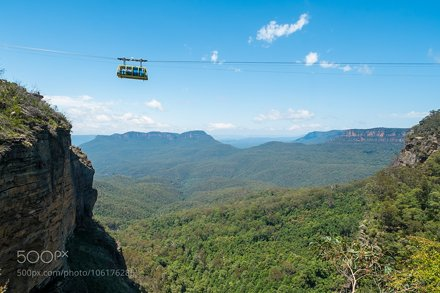 Cable car at Scenic World in the Blue Mountains, Australia.