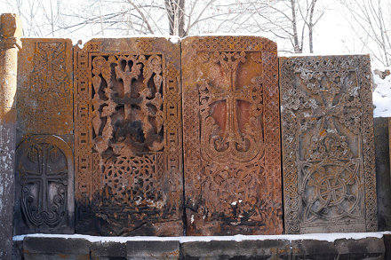 Khachkars in Kecharis monastery, Tsaghkadzor, Armenia