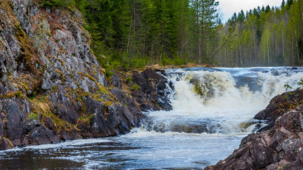 Waterfall Kivach in Kareliya - the second largest, after the Rhine, plain waterfall in Europe.