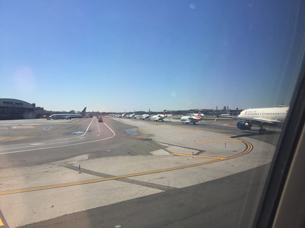 AIRCRAFT--Line for takeoff at La Guardia