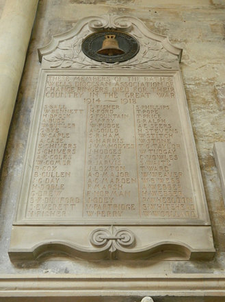 Bath: Bath and Wells Diocesan Association war memorial in Bath Abbey (Somerset)