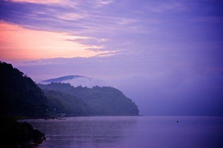 Misty morning at lake Yamanaka