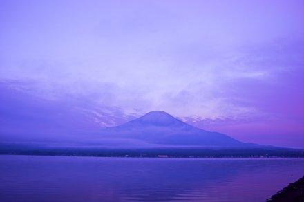Mt. Fuji going slightly purple at Lake Yamanaka