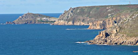 The view of Cape Cornwall from Lamorna cove.