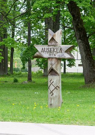 street sign in Lielvārde, Latvia