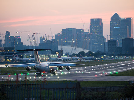 London City Airport at sunset