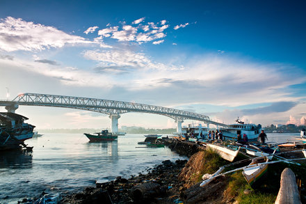 Old Mactan Bridge during a sunrise..