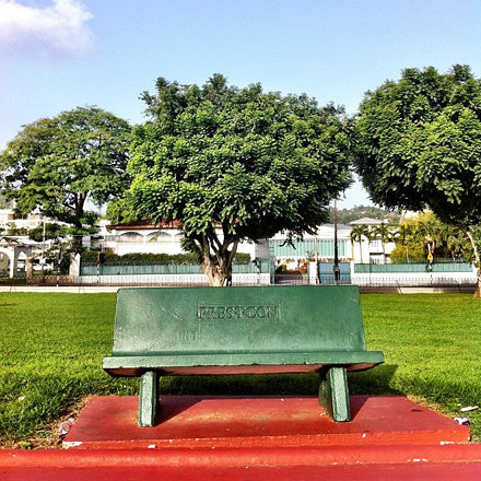 When last have I sat and read on a park bench? #owningmycity #trinidad #portofspain
