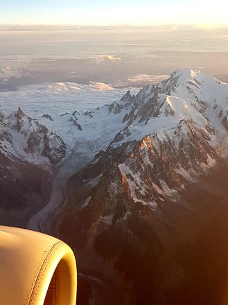 "Bird's eye view of ""La mer de glace"" glacier and Mont Blanc"