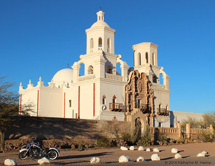 Mission San Xavier del Bac, with spirit bike. Tucson, Arizona