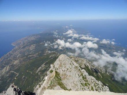 Mönchsrepublik Athos vom Athos-Gipfel (heiliges Land)