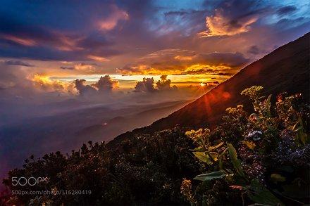 Kerinci Volcano under the sunset