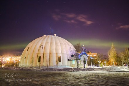 Murmansk Oceanarium and the Northern lights