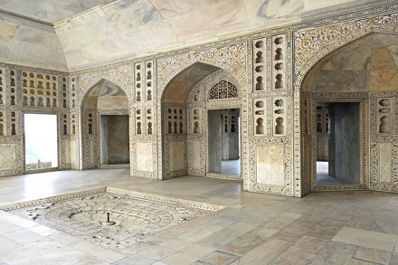 Agra Fort Musamman Burj carved and inlaid marble room 6