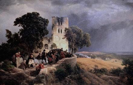IMG_5138 Carl Friedrich  Lessing. 1808-1880.  L'Eglise assiégée, pendant la guerre de Trente An
