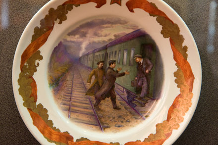 Decorative plate commemorating Lenin's arrival in Russia, Museum of Political History, St. Pete