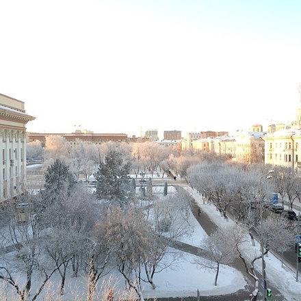Красиво. Мороз и солнце в Тюмени.