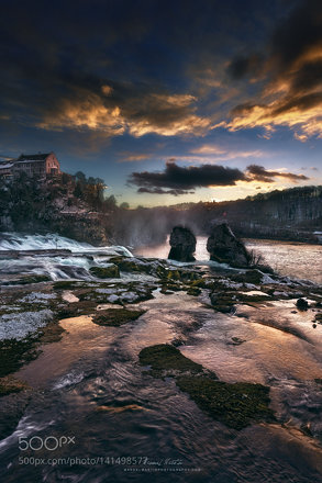 "Winter sunset at the ""Rheinfall"""