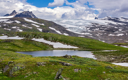 Pohled na ledovec Smørstabbreen