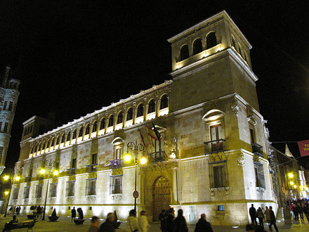 Palacio de los Guzmanes - Vista general nocturna