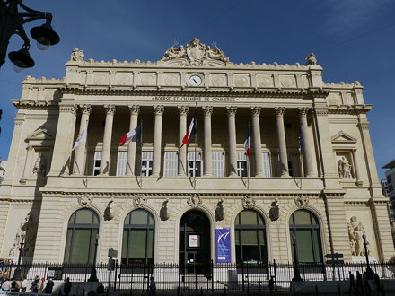 Marseille (Bouches du Rhône),  la Bourse sur la Canebière
