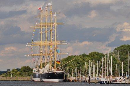 """Quatre mâts-barque """"Passat"""", 1911, estuaire de la Trave, Travemünde, Lübeck,  Schleswig-Ho"""