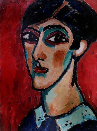 IMG_0554AA Alex von Jawlensky 1864-1941 Tête allongée en brun rouge  Elongated head in red-brown 191