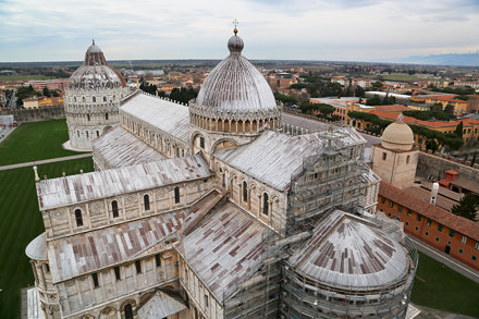 Pisa Cathedral from Tower   Pisa, Italy