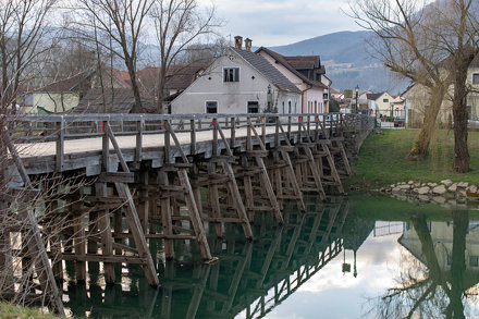 Kostanjevica na Krki, northern wooden bridge over Krka river