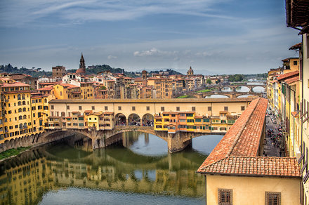 "The Ponte Vecchio ""Old Bridge"" and Arno River, Florence, Italy"