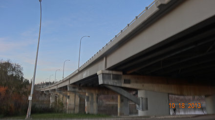 Whitemud Freeway crossing the North Saskatchewan River on the Quesnell Bridge, Edmonton, Alberta